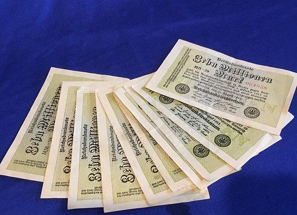 German 1923 hyperinflation 10 Million Mark Note x 10 (lot 4)
