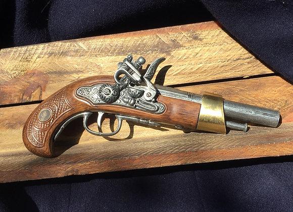 18th Century Antique Flintlock Pistol (Monogram Handle)