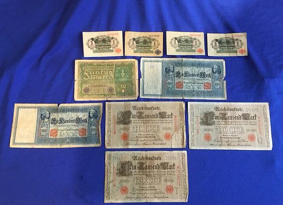 German 1910-1923 banknotes x 10 (lot 10)