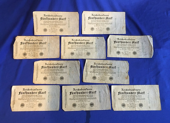 German inflation period banknotes x 10 (lot 8)