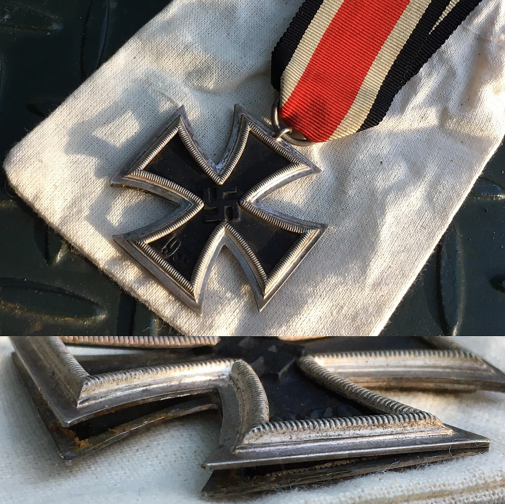 Genuine WW2 German Iron Cross 2nd Class with a split frame showing correct three piece construction