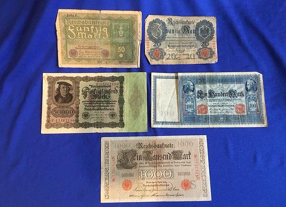 German 1909 - 1922 banknotes (lot 7)