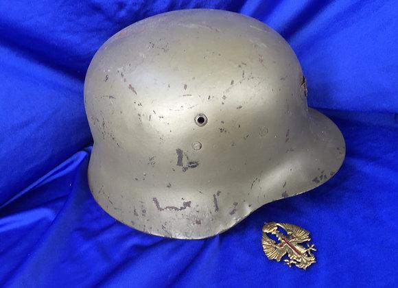Spanish Fascist Helmet / Copy of German M42 Style and Badge