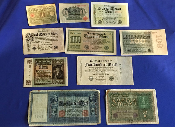 German 1910-1923 banknotes including hyperinflation period (lot 3)