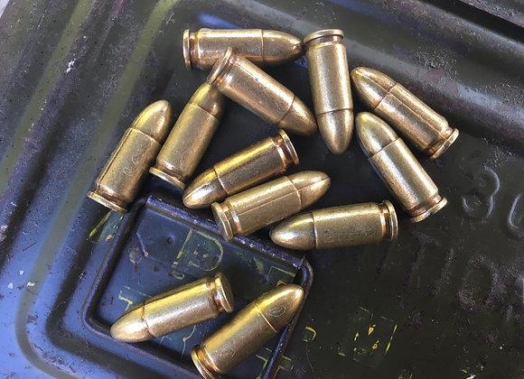 Set of 6 Replica Metal 9mm Rounds (Inert)