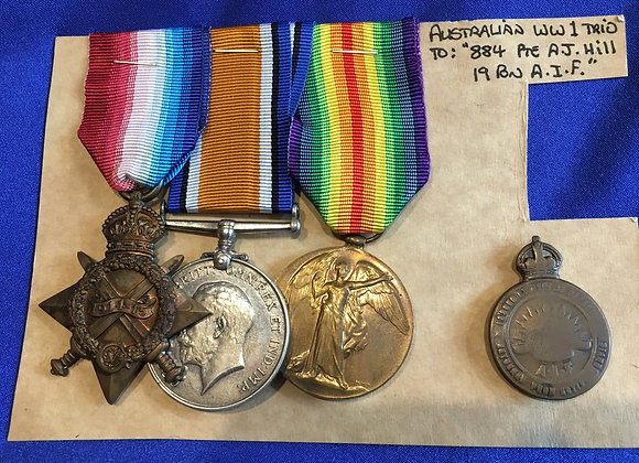 WW1 Medal Trio  - Private A.J Hill, 884, 19 Battalion AIF