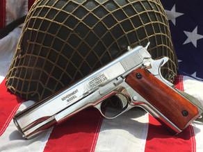 Chrome Plated Colt Government .45 Auto Replica Pistol by Denix