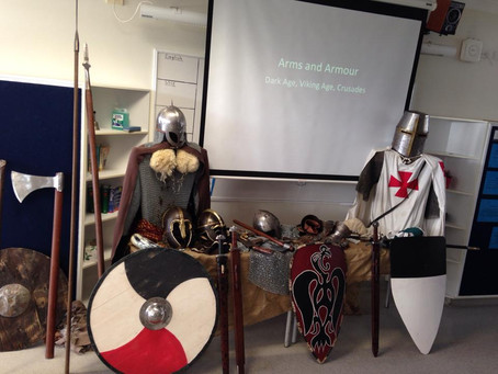 Community engagement with some of our living history props at a local school