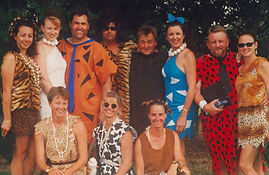 Historic image of Sabre facilitators in a Flintstones theme