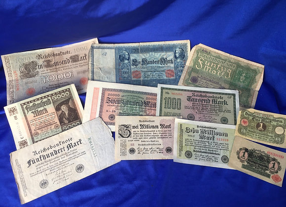 German Banknotes 1910 - 1923 Hyperinflation period