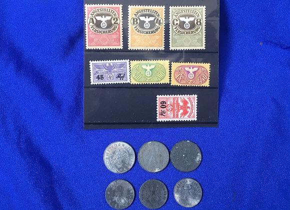 WW2 German Third Reich Era Stamps and Coins
