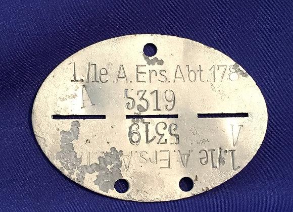 WW2 German Identity Disc for an Artillery Soldier
