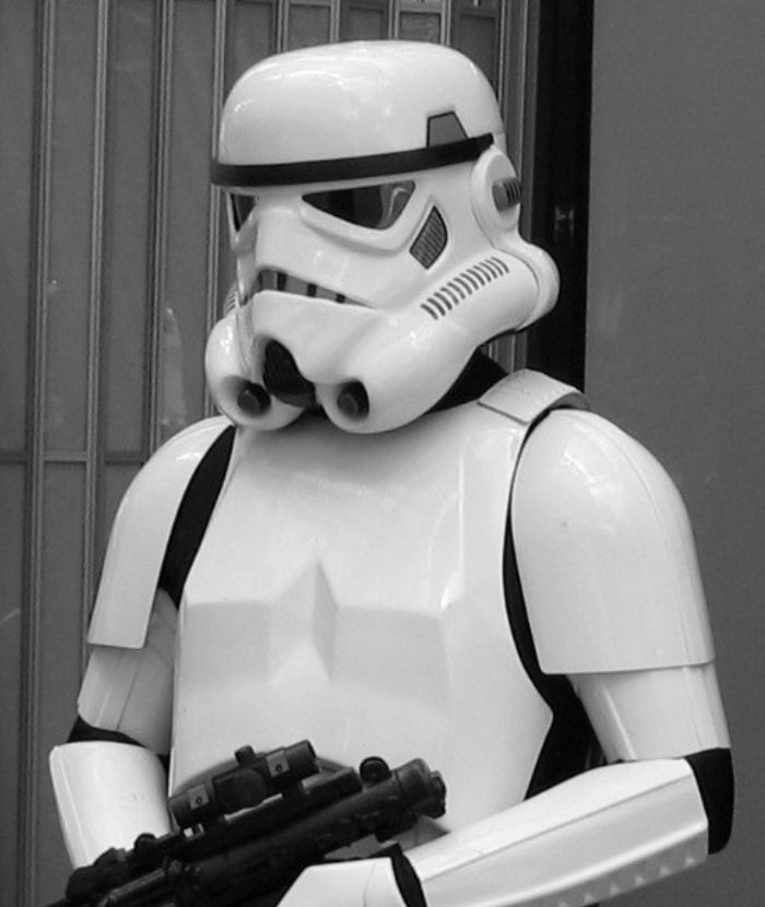 Image: A member of the Sabre team in his guise as a 501st charity Stormtrooper at a Kid's Hospital