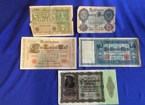 German 1910-1922 banknotes x 5 (lot 6)