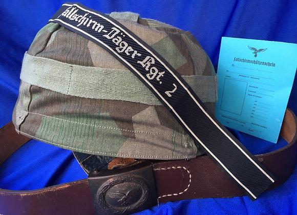 WW2 German Fallschirmjäger Helmet, Cover, Belt, Title, Card (Repro)