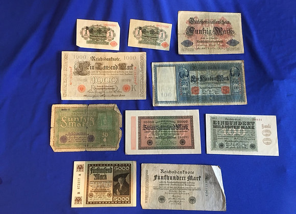 German 1910-1923 including hyperinflation banknotes x10 (lot 9)