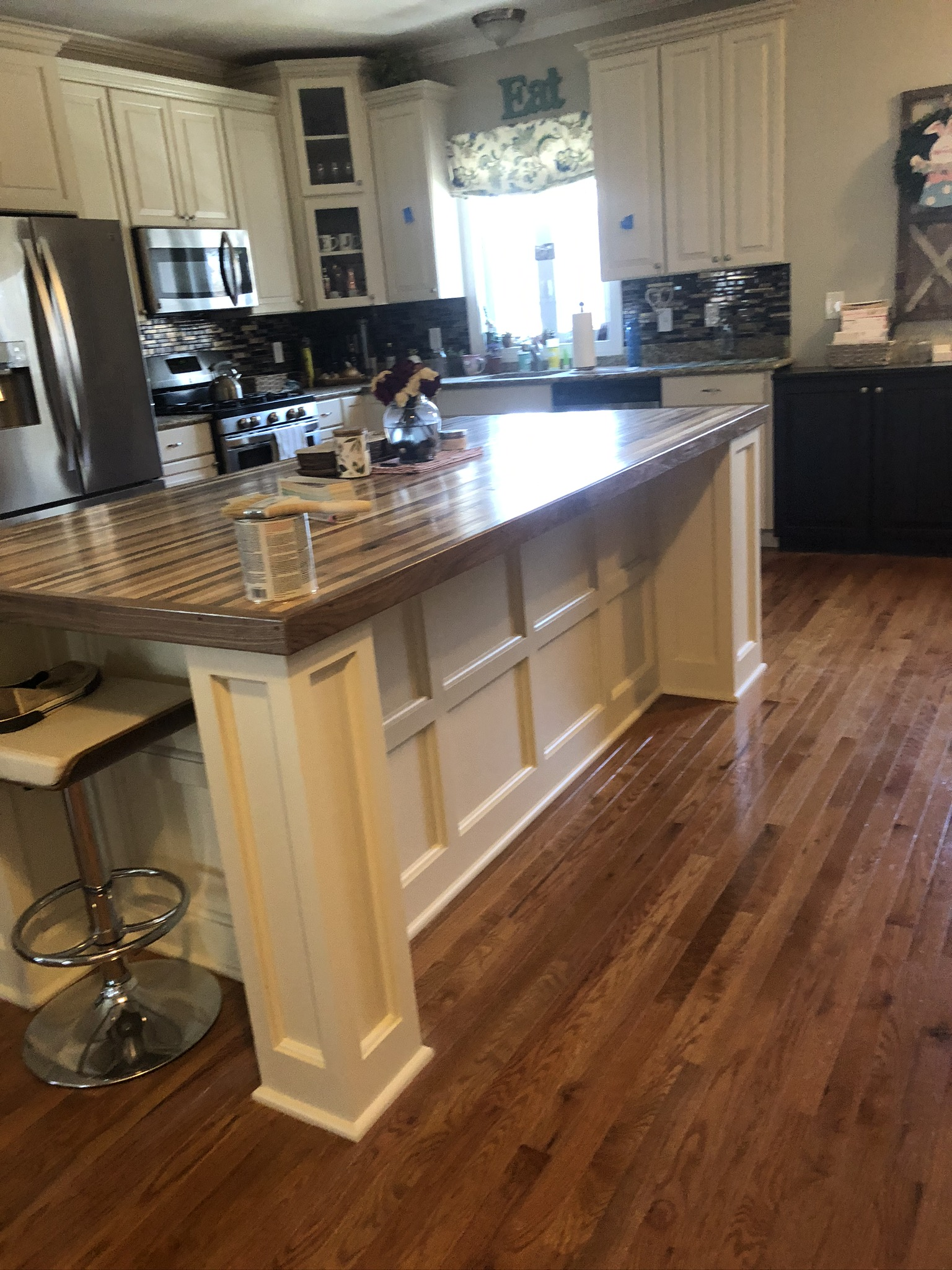 Cabinet and Island Stain and Painting