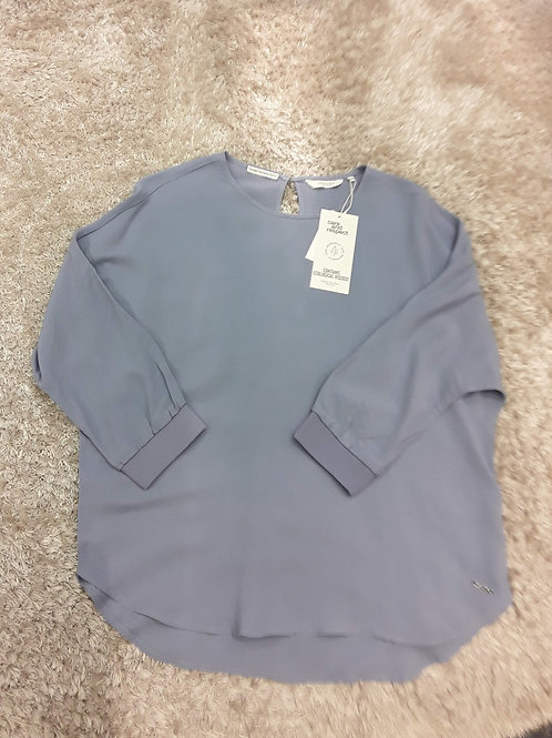Langarmshirt im Satin-Mix in blau von Tom Tailor mine to five