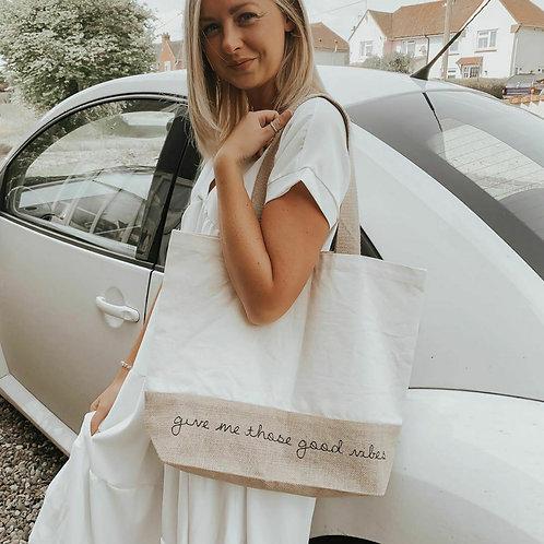 'Good Vibes' Jute Bag