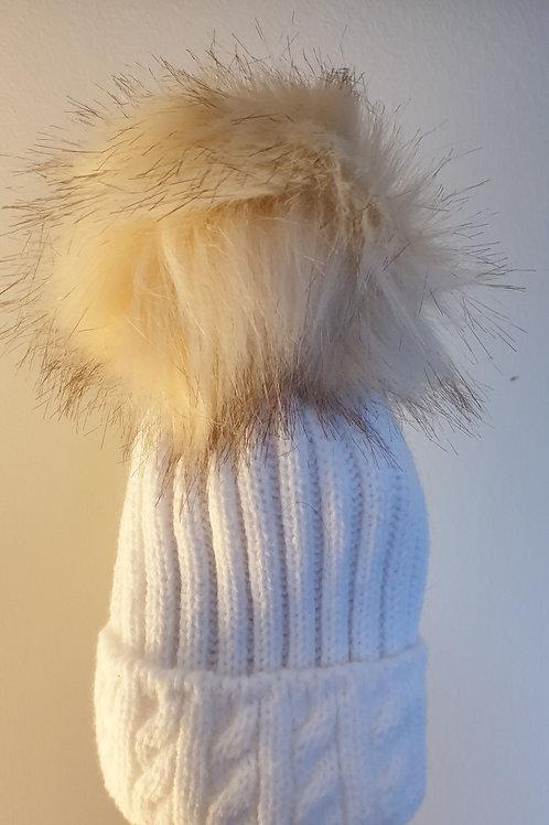 White Baby Pom Pom Hat