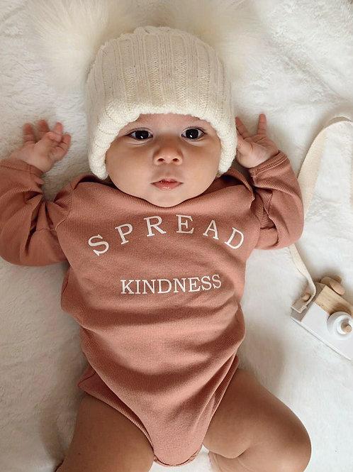 'SPREAD KINDNESS'   Clay Organic Rib Bodysuit