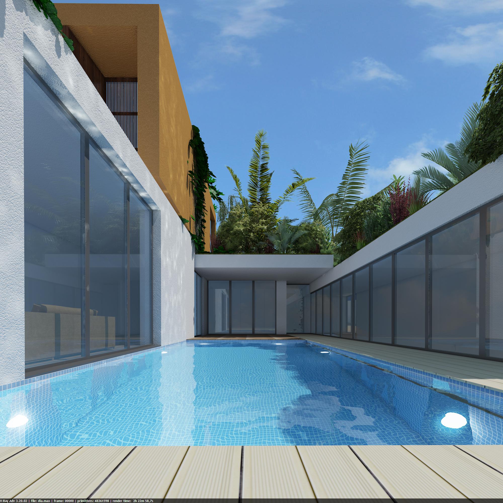Pormenor da zona envolvente da piscina