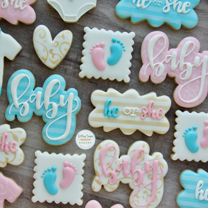 Pink and Blue Gender Reveal Cookies