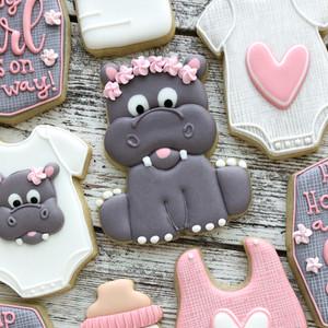 Hippo Baby Shower Cookies