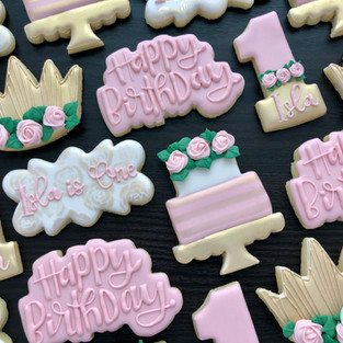 Pink and Gold Birthday Cookies