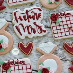 Rose Gold Bridal Shower Cookies