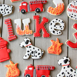 Firefighter Birthday Cookies