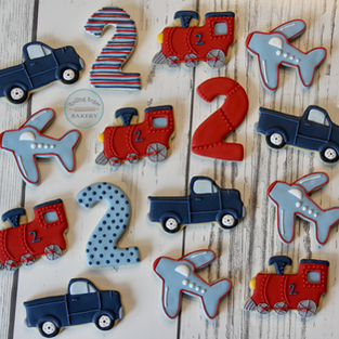 Planes, Trains, and Trucks Birthday Cookies