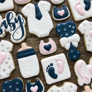 Pink and Navy Baby Shower Cookies