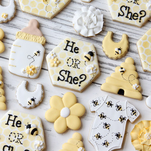Bee Baby Shower Cookies
