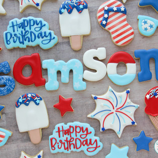 Red, White, and Blue Birthday Cookies