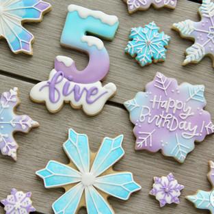 Snowflake Birthday Cookies
