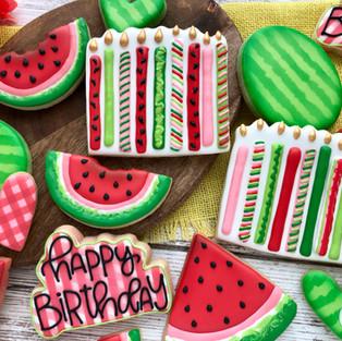 Watermelon Birthday Cookies