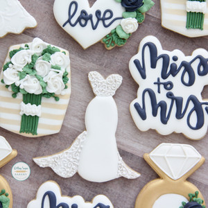 Navy and Gold Bridal Shower Cookies
