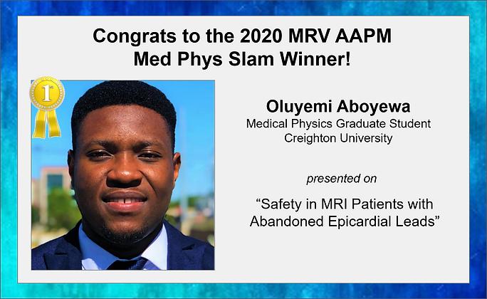 MRVAAPM 2020 Med Phys Slam Winner Announ