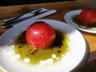 Tomato stuffed with tuna in a walnut and
