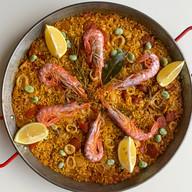 paella with calamari gamba monkfish & c