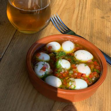 Spanish marinated quail eggs