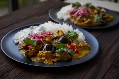 Aubergine tofu peanut & tammarind curry.