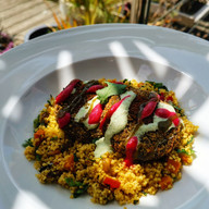 Baked falafel with fully loaded cous cou