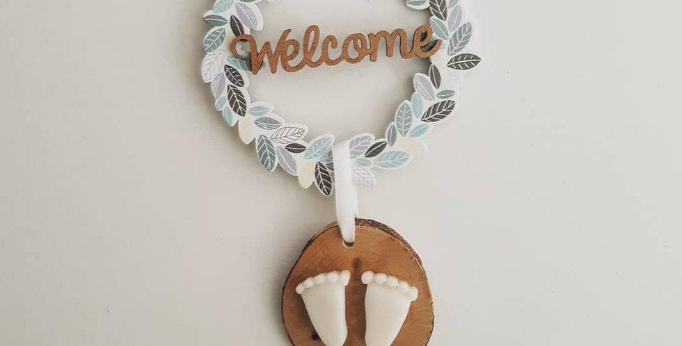 """SOUVENIRS D'ENFANCE senteur Fleur de coton - Feuillage, mot """"Welcome"""""""""""