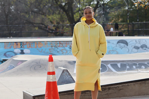 Autumn Yellow Color Oversized Hoodie Dress