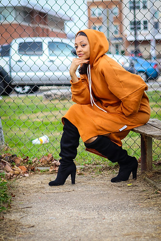 Rust Color Oversized Hoodie Dress