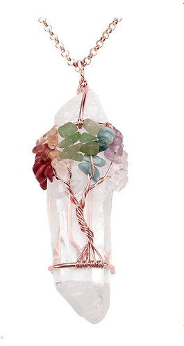 Tree of Life crystal quartz necklace