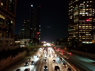 View across the 110 at night
