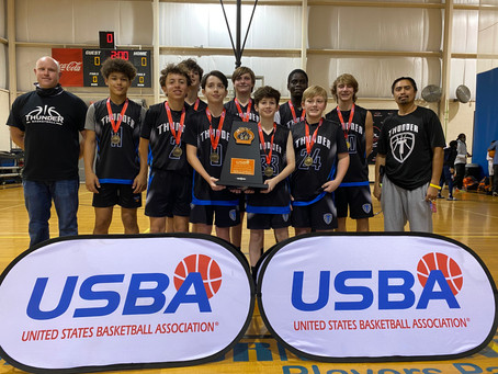 "2026B USBA ""Future of the Game"" Champions. Cooper Bell named MVP."